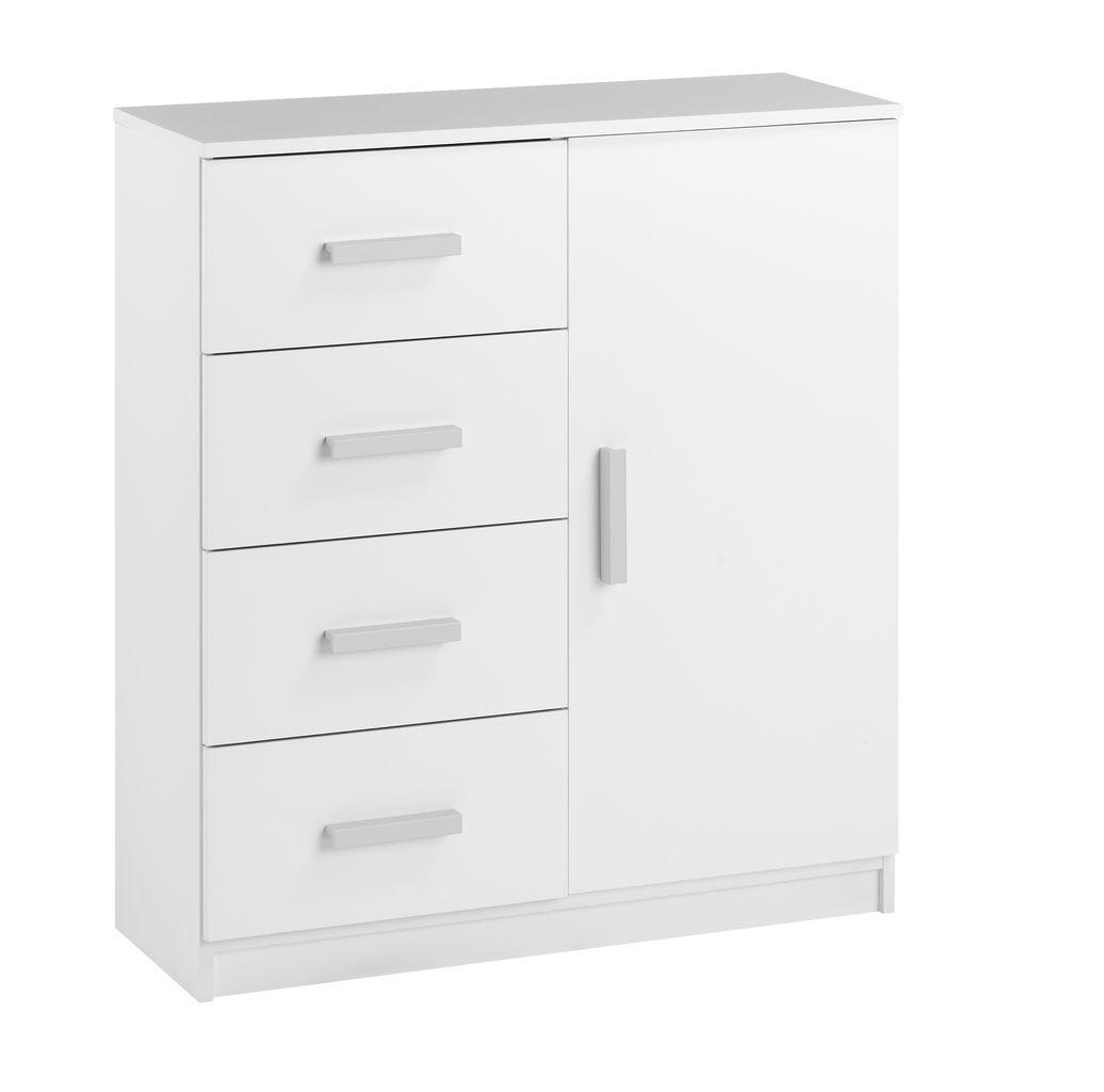 Byrå kombi 4 lådor 1 dörr vit JYSK