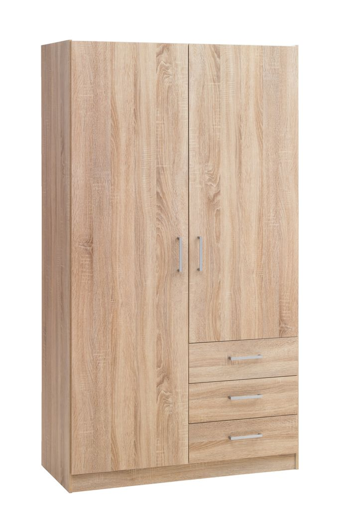 Wardrobe Hagendrup 2doors 3drawers Oak Jysk