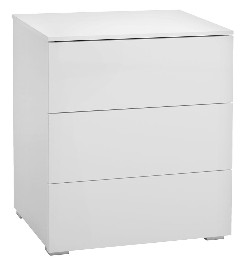 Bedside Table Oldrup 3 Drw W Gloss