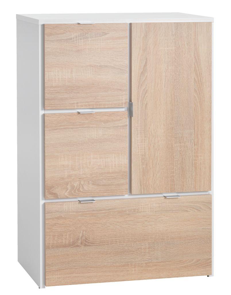 Skåp NAUTRUP 3 lådor 1 dörr vit ek JYSK