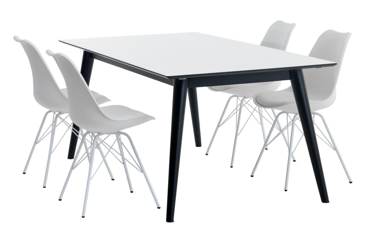 spisebord jysk SALTUM L195/285 + 4 KLARUP hvid | JYSK spisebord jysk