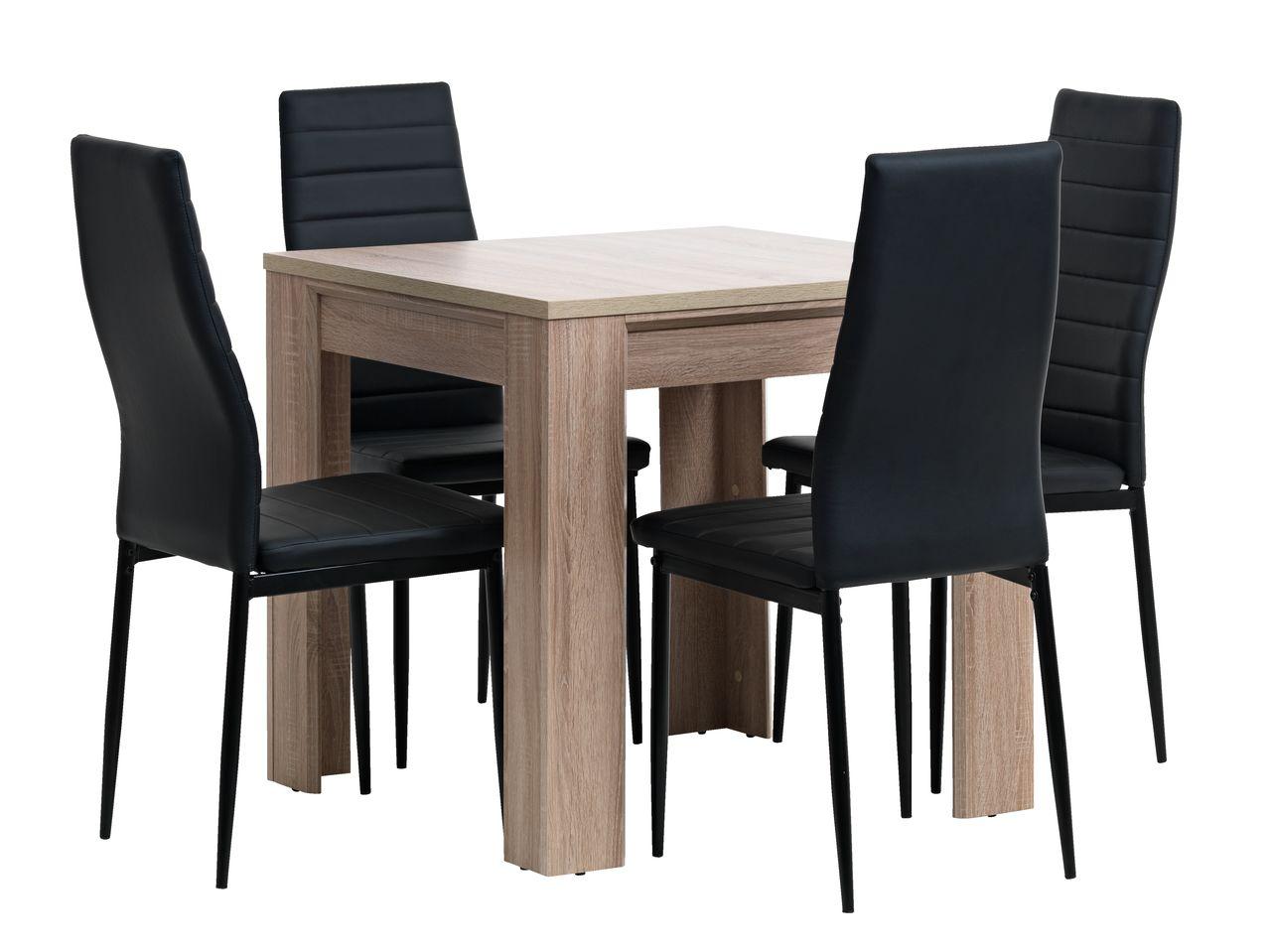 Hallund l80 oak 4 toreby black jysk for Sofa table jysk