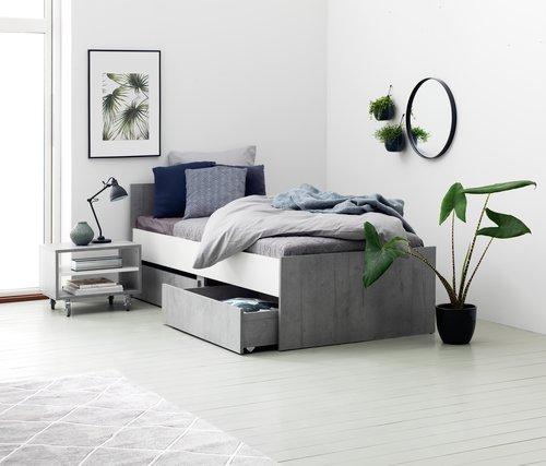 Hjørnebord BILLUND 40x55 hvit/betong