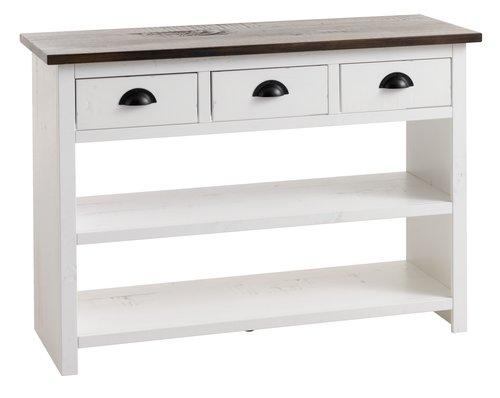 Pultový stolík KALUNDBORG biela/hnedá