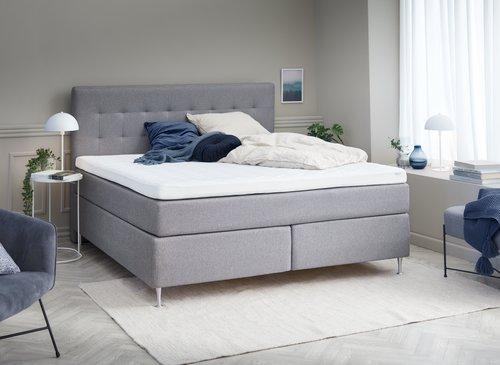 Sänggavel 160x125 H50 STITCHED grå-29