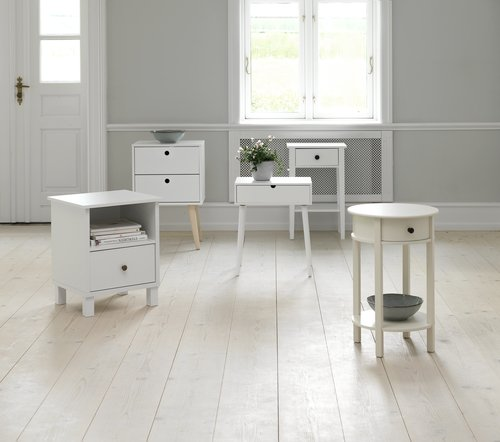 Bedside table OPLEV 2 drawers white/pine