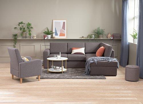 Разтегателен диван с разшир. BEDSTED сив