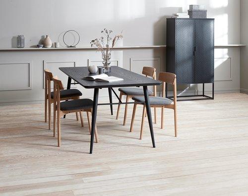 Jedálenský stôl RADBY 90x200 čierna