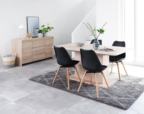 Jedilniški stol KASTRUP črna/hrast