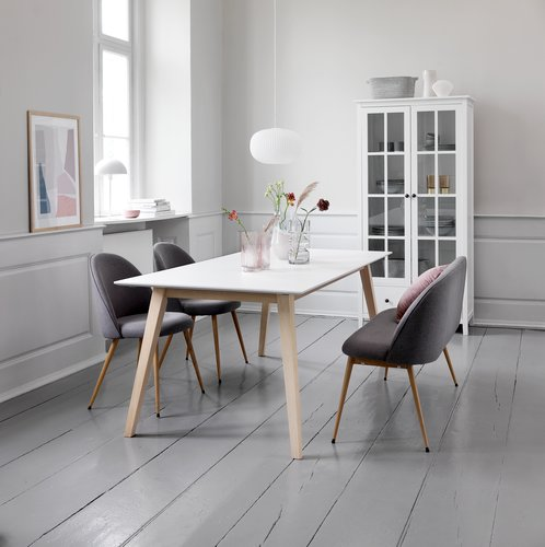 Spisebord TARUP 95x195/285 hvid