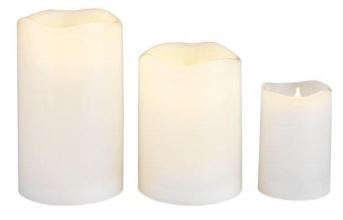 Stumpenkerze SOREN Ø5xH8cm weiß m/LED