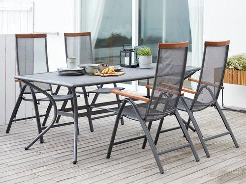 LARVIK стол 200 см + 4 раскладных стула