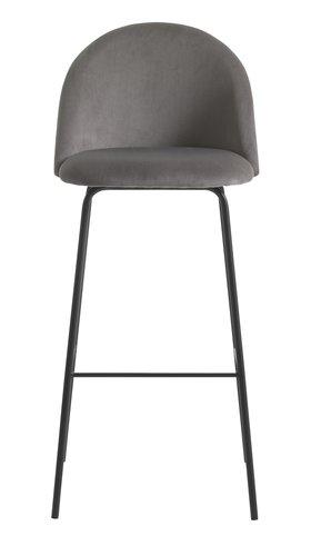 Scaun de bar GRINDSTED catifea gri/negru