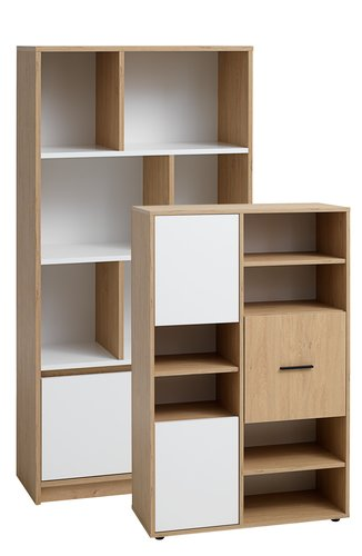 Bibliotecă BILLUND 3 usi albă/stejar