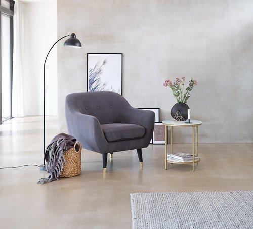Fauteuil EGEDAL velours côtelé gris