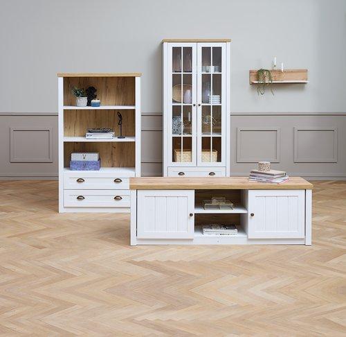 Display cabinet MARKSKEL 2 door wht/oak