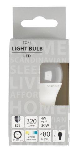 Lyspære TORE 4W E27 LED 320 lumen