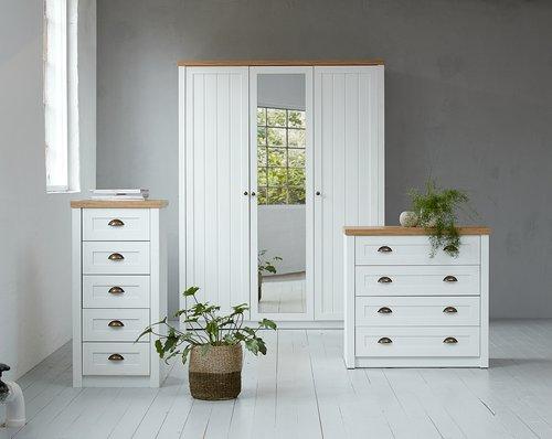 5 drw chest MARKSKEL white/oak