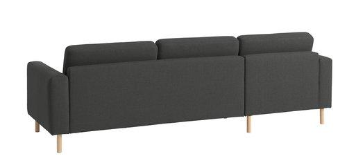 Καναπές με σεζλόνγκ SVALBARD σκούρο γκρι