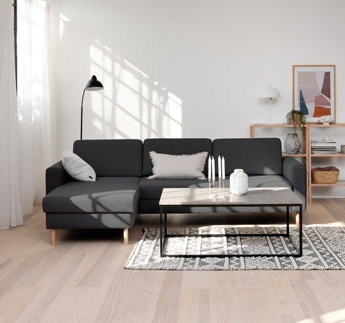 Bank SVALBARD chaise longue donker grijs