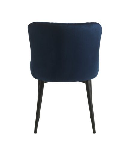 Stol PEBRINGE fløyel blå/svart