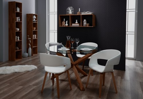 Table SASKIA Ø119 chêne/verre