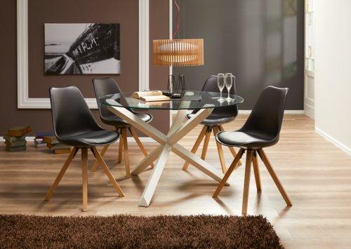 Cadeira jantar BLOKHUS preto/natural