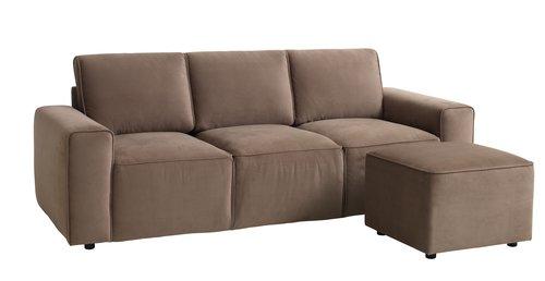 Canapé 3 places a/pouffe DAL gris/brun