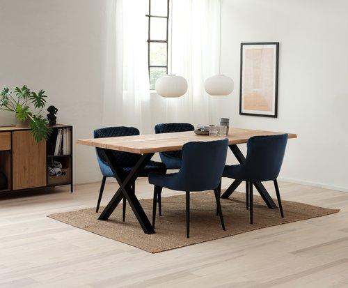 Jedilniški stol PEBRINGE modra/črna