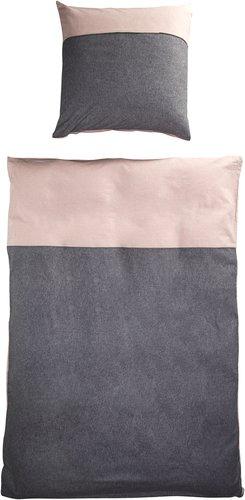 Bettwäsche MELANGE Flanell SGL rosa/grau