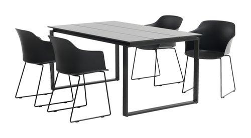KOPERVIK L160 grå + 4 SANDVED svart