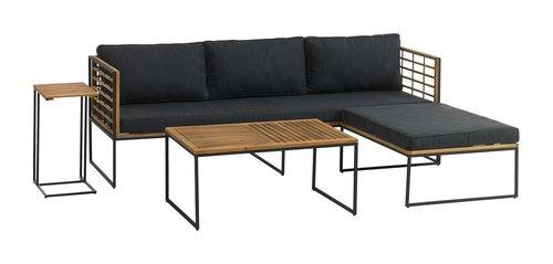 Divano lounge UGILT chaise 3 pers. legno