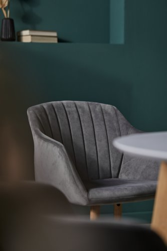 Dining chair ADSLEV velvet grey