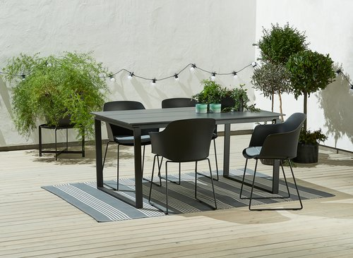 Miza KOPERVIK D160+4 stoli SANDVED