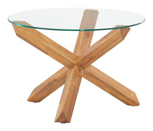 Tavolino SASKIA Ø60 vetro/rovere