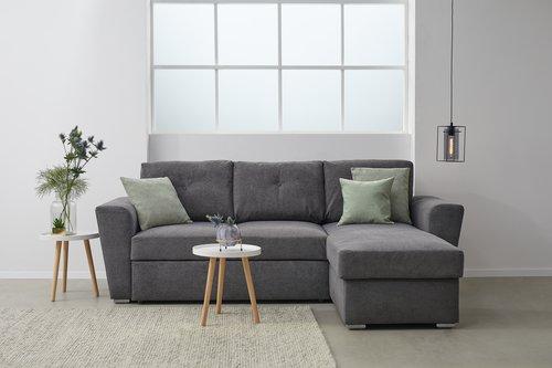Sofá-cama c/chaise-longue VEJLBY cinz