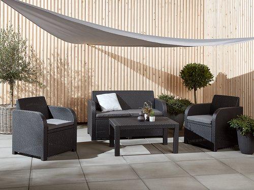 Set muebles jardín SAN LORENZO 4p gris
