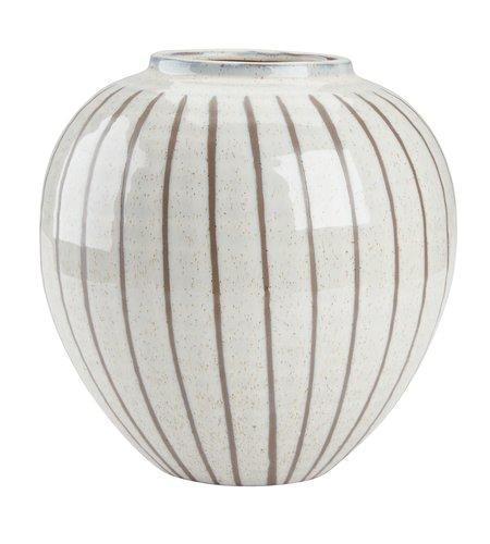 Vase SOFUS Ø21xH21cm hvid/brun