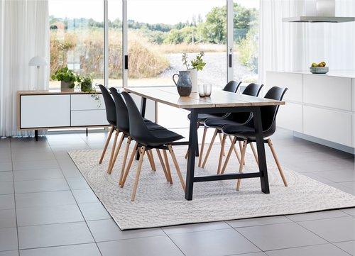 Jedálenská stolička KASTRUP čierna/dub