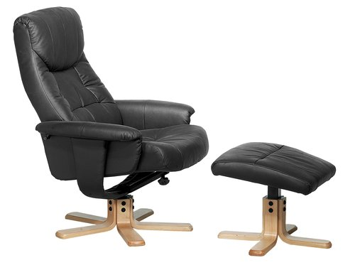 Armchair w/footstool HUNDSLUND black