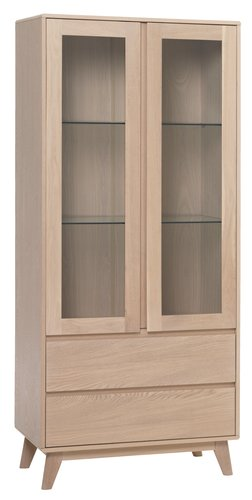 Display cabinet KALBY 2 door 2 drw oak