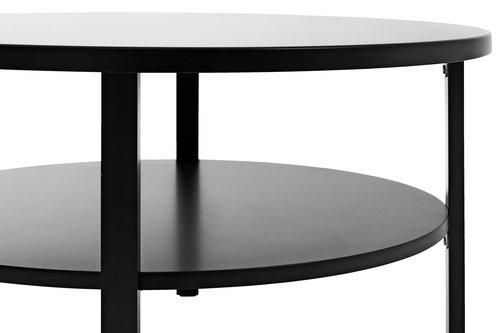 Soffbord SKIBBY Ø80 m/hylla svart