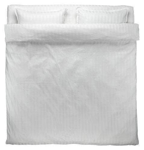 Lenjerie pat + cearsaf NELL dublă albă