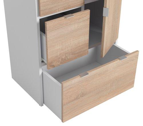 Skåp NAUTRUP 3 lådor 1 dörr vit/ek