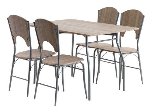 Stôl D120 cm + 4 stoličky THYHOLM dub