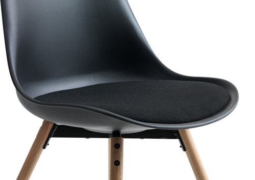 Trpezarijska stolica KASTRUP crna/hrast