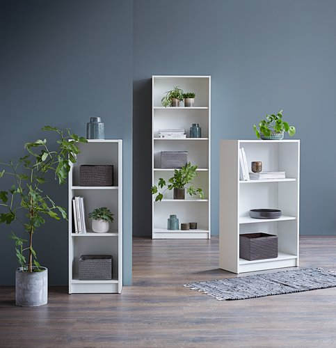 Bookcase HORSENS 3 shelves wide white