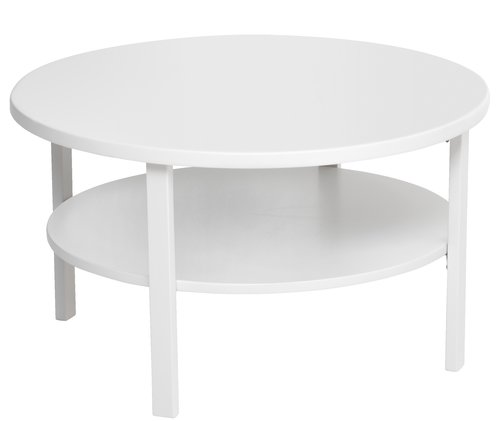 Coffee table SKIBBY D80 cm w/shelf white