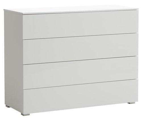 4 drawer chest OLDRUP white high gloss