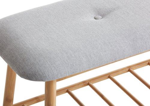 Ławka VANDSTED tkanina szary/bambus